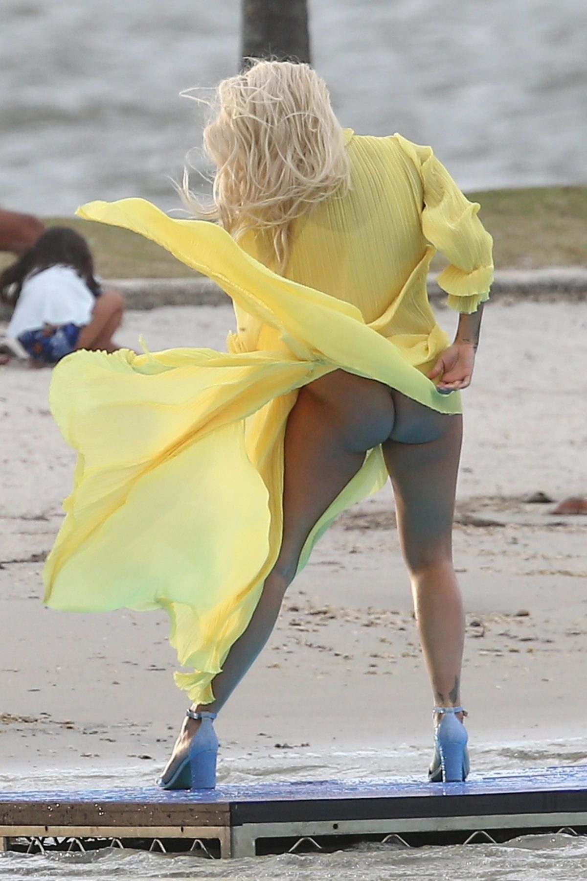 Rita Ora Ass Upskirt on the Set of a Music Video in Miami